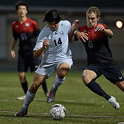 SEWICKLEY, PA - OCTOBER 12:  During a boys high school game between Quaker Valley and Sewickley Academy at Chuck Knox Stadium on October 12, 2017 in Leetsdale, PA .  The Quakers went on to win 3-0. (Photo by Shelley Lipton)