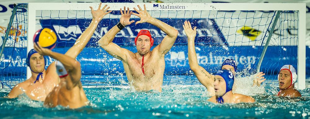 1 Nagy Viktor HUN<br /> Spain (White) Vs Hungary (Blue)<br /> LEN European Water Polo Championships 2014<br /> Alfred Hajos -Tamas Szechy Swimming Complex<br /> Margitsziget - Margaret Island<br /> Day01 - July 14 <br /> Photo Giorgio Scala/Inside/Deepbluemedia