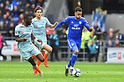 Josh Murphy (11) of Cardiff City on the attack during the Premier League match between Cardiff City and Chelsea at the Cardiff City Stadium, Cardiff, Wales on 31 March 2019.