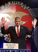 DEN103D:CRIME-SHOOTING:LITTLETON,COLORADO,01MAY99 - Charleton Heston, actor and National Rifle Association President acknowledges applause after he spoke to the annual meeting of the NRA May 1.  The NRA was asked to cancel its annual meeting here in light of the Columbine High School shootings but the NRA refused.  rtw/Photo by Rick Wilking