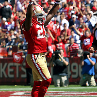 San Francisco 49ers running back Frank Gore (21) celebrates a touchdown during an NFL football game between the Dallas Cowboys and the San Francisco 49ers at Candlestick Park on Sunday, Sept. 18, 2011 in San Francisco, CA.  (Photo/Alex Menendez)