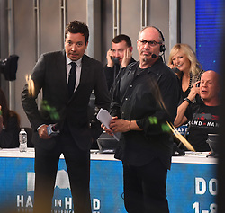 """Celebrities at the """"Hand to hand"""" telethon in Times square, New York City. 12 Sep 2017 Pictured: Jimmy Fallon. Photo credit: MEGA TheMegaAgency.com +1 888 505 6342"""