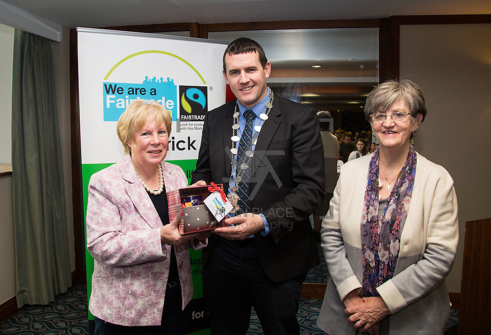 22.11.2016                   <br /> Christmas has come early for two Limerick students after they were named overall winners of the 2016 Limerick City Fairtrade Christmas Card Competition at a ceremony in The Savoy Hotel.<br /> <br /> Pictured at the ceremony were, Dolores O'Mara, Fair-trade, Deputy Mayor Cllr. Frankie Daly and Sr. Delia O'Connor, Fair-trade. Picture: Alan Place