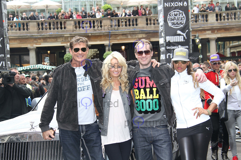 David Hasselhoff; Hayley Roberts; Maximillion Cooper; Eve The Gumball 3000 Rally - Celebrities, Covent Garden, London, UK, 26 May 2011:  Contact: Rich@Piqtured.com +44(0)7941 079620 (Picture by Richard Goldschmidt)