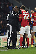 Paul Williams manager of Nottingham Forest gives Gary Gardner(22) of Nottingham Forest a pat on the back after he scored to go 1-0 up during the Sky Bet Championship match between Hull City and Nottingham Forest at the KC Stadium, Kingston upon Hull, England on 15 March 2016. Photo by Ian Lyall.