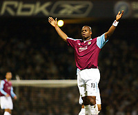 Photo: Chris Ratcliffe.<br />West Ham United v Newcastle United. The Barclays Premiership. 17/12/2005.<br />Marlon Harewood asks where it all went wrong.