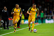 Anthony Knockaert (11) of Brighton and Hove Albion on the attack with Liam Rosenior (23) of Brighton and Hove Albion following during the Premier League match between Bournemouth and Brighton and Hove Albion at the Vitality Stadium, Bournemouth, England on 15 September 2017. Photo by Graham Hunt.