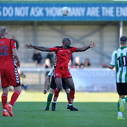 TELFORD COPYRIGHT MIKE SHERIDAN 29/9/2018 - Theo Streete of AFC Telford is fouled during the Conference North fixture between Blyth Spartans and AFC Telford United at Croft Park, Blyth.
