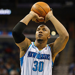 February 1, 2011; New Orleans, LA, USA; New Orleans Hornets power forward David West (30) shoots a free throw against the Washington Wizards during the second quarter at the New Orleans Arena.   Mandatory Credit: Derick E. Hingle