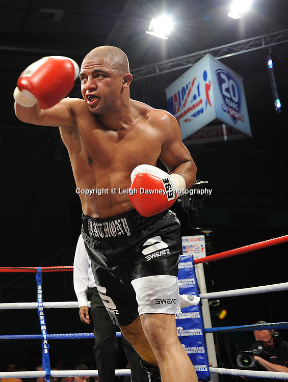 Menay Edwards defeats John Anthony (pictured) at Medway Park, Gillingham, Kent, UK on 13th May 2011. Frank Maloney Promotions. Photo credit © Leigh Dawney 2011.
