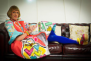 "Portrait of Artist Grayson Perry the Royal Academy of Arts in London on October 2nd 2012...Perry's ""Bad Portraits of Establishment Figures I ,2012 valued between £50,000- 70,000 is on display  at the Royal Academy of Arts in London on October 2nd 2012..."