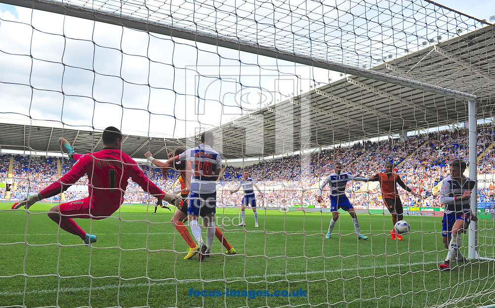 Oliver Norwood of Reading seems to clear the ball off the line but referee James Adcock gives a goal to put Wolverhampton Wanderers 3-2 up during the Sky Bet Championship match at the Madejski Stadium, Reading<br /> Picture by Alan Stanford/Focus Images Ltd +44 7915 056117<br /> 28/09/2014