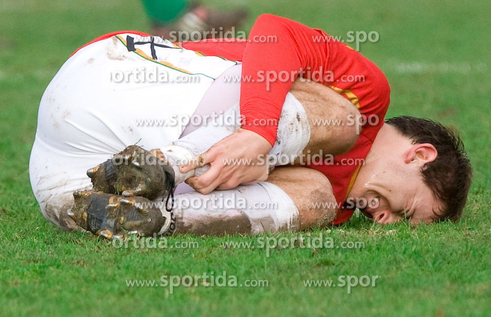 Nikola Tolimir of Rudar injured  at  football match of 21st Round of First League between NK Olimpija and NK Rudar Velenje, on December 2, 2009,  in ZSD Ljubljana, Ljubljana, Slovenia.  Rudar defeated Olimpija 1:0. (Photo by Vid Ponikvar / Sportida)