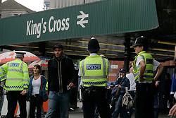 UK ENGLAND LONDON 28JUL05 - British Transport Police guards the entrance to Kings Cross station in central London following two terrorist attacks in the past three weeks...jre/Photo by Jiri Rezac ..© Jiri Rezac 2005..Contact: +44 (0) 7050 110 417.Mobile:  +44 (0) 7801 337 683.Office:  +44 (0) 20 8968 9635..Email:   jiri@jirirezac.com.Web:    www.jirirezac.com..© All images Jiri Rezac 2005 - All rights reserved.