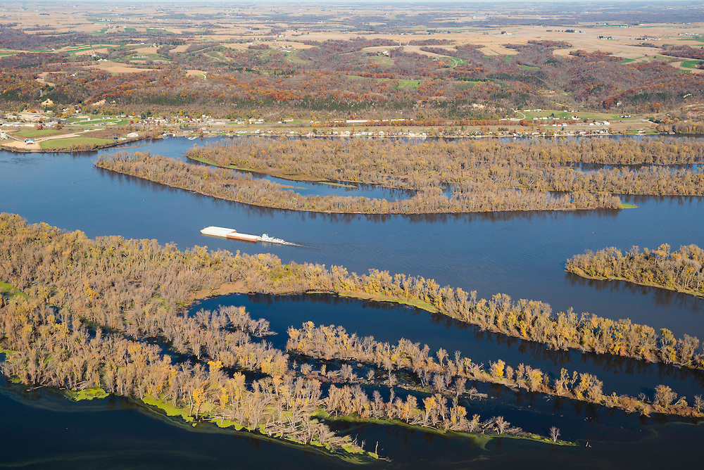 Aerial view of the Mississippi River at Casseville, Wisconsin  looking eastward from the Iowa side of the Mississippi River on a beautiful autumn day.