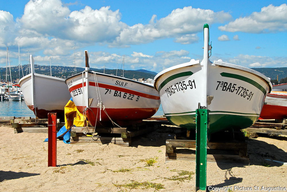 Colorful fishing boats on the Costa Brava, Catalunya, Spain.