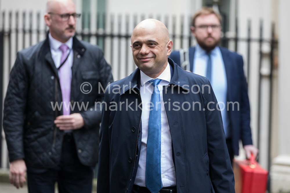 London, UK. 7 January, 2020. Sajid Javid, Chancellor of the Exchequer, leaves 10 Downing Street following a Cabinet meeting.