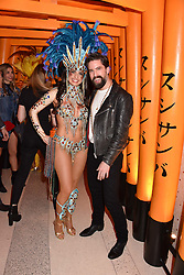 Jack Guinness and dancer at Sambazonia presented by Sushisamba and Cool Earth at SushiSamba, 110 Bishopsgate, City of London England. 28 February 2017.