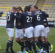 Dundee's Peter MacDonald is congratulated after opening the scoring - Livingston v Dundee - SPFL Championship at Almondvale <br />  - &copy; David Young - www.davidyoungphoto.co.uk - email: davidyoungphoto@gmail.com