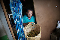 Hernei Ruiz has grown coca all his life. He now promotes the traditional use of coca. He retrieves a basket of coca cookies from his kitchen. He lives in Lerma, a small coca producing community in the south of Cauca department. The region is controlled by the ELN guerrilla group. There's no official authority in town.