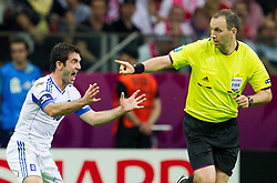 16.06.2012, Nationalstadion, Warschau, POL, UEFA EURO 2012, Griechenland vs Russland, Gruppe A, im Bild Giorgos Karagounis of Greece protesting against referee Jonas Eriksson of Sweden // during the UEFA Euro 2012 Group A Match between Greece and Russia at the National Stadium Warsaw, Poland on 2012/06/16. EXPA Pictures © 2012, PhotoCredit: EXPA/ Sportida/ Vid Ponikvar..***** ATTENTION - OUT OF SLO *****