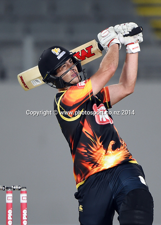 Matt Taylor batting for Wellington during the Georgie Pie Super Smash Twenty20 cricket match between the Auckland Aces and Wellington Firebirds at Eden Park, Auckland on Friday 14 November 2014. Photo: Andrew Cornaga / www.Photosport.co.nz