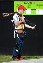 Team GB's Rory Warlow  in action in the  Men's Skeet at London 2012 Olympics, Monday, 30th July 2012.  Photo by: i-Images