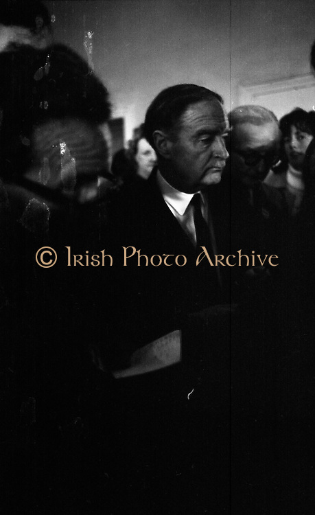 Mr Liam Cosgrave,Leader of Fine Gael,at Vote Count. (E48)1973..01.03.1971..03.01.1973..1st March 1973..As the ballot boxes were opened in Dun Laoghaire Town Hall, Mr Cosgrave and his supporters watched as the voting papers were piled high. The vote was as the result of an often hectic General Election campaign. Mr Cosgrave was hoping his party would garner enough votes to oust the sitting Fianna Fail Government which had held power for sixteen years...A study of Mr Liam Cosgrave, leader Fine Gael, at the count centre at the Town Hall, Dun Laoghaire, as he calculates the possibility of forming the next government.