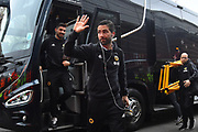 Joao Moutinho (28) of Wolverhampton Wanderers waves at the fans on arrival at Ashton Gate Stadium before the The FA Cup 5th round match between Bristol City and Wolverhampton Wanderers at Ashton Gate, Bristol, England on 17 February 2019.