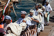 "16th February 2010. Muscat. Oman..Pictures of ""The Jewel of Muscat"" departure ceremony. Traditional Omani drummers perform and load the yacht prior to departing the port of Mutrah and Oman. The project have built a replica yacht with traditional methods and are recreating the origanol historic journey too Singapore."