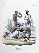 Indian barbers: In the foreground a Sepoy is being shaved. His uniform lies on the ground. Hand-coloured lithograph from 'L'Inde franciase', Paris, 1828.