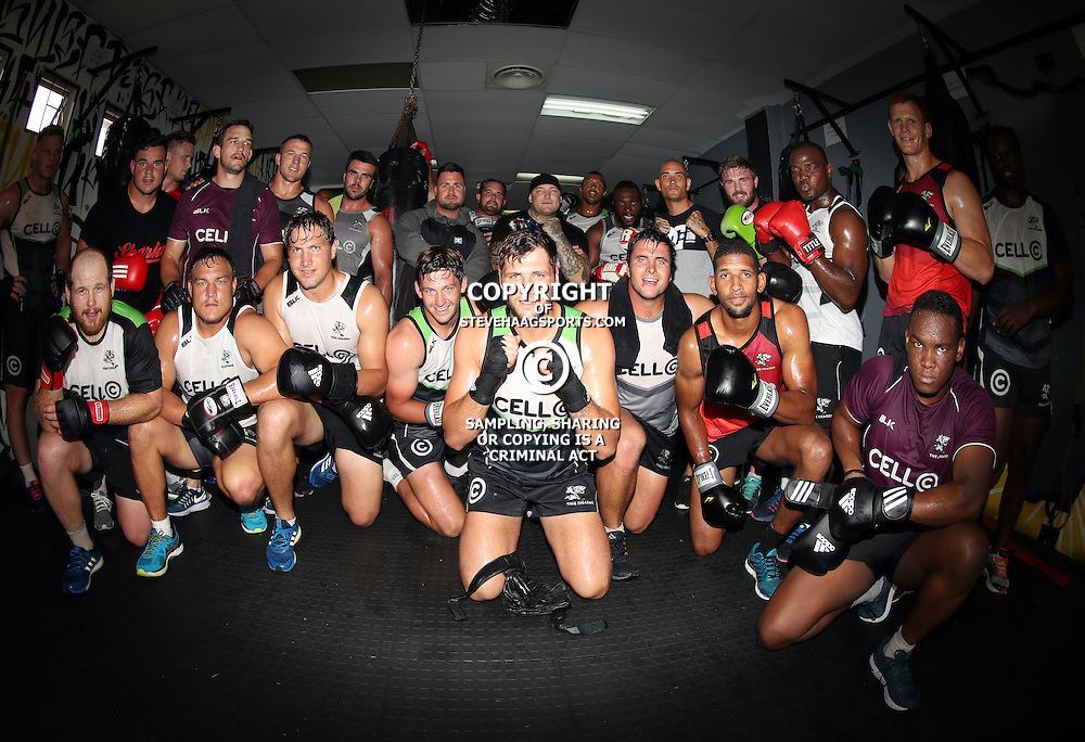 DURBAN, SOUTH AFRICA - JANUARY 16: General views of the forwards during the Cell C Sharks boxing session at Domination on January 16, 2017 in Durban, South Africa. (Photo by Steve Haag/Gallo Images)