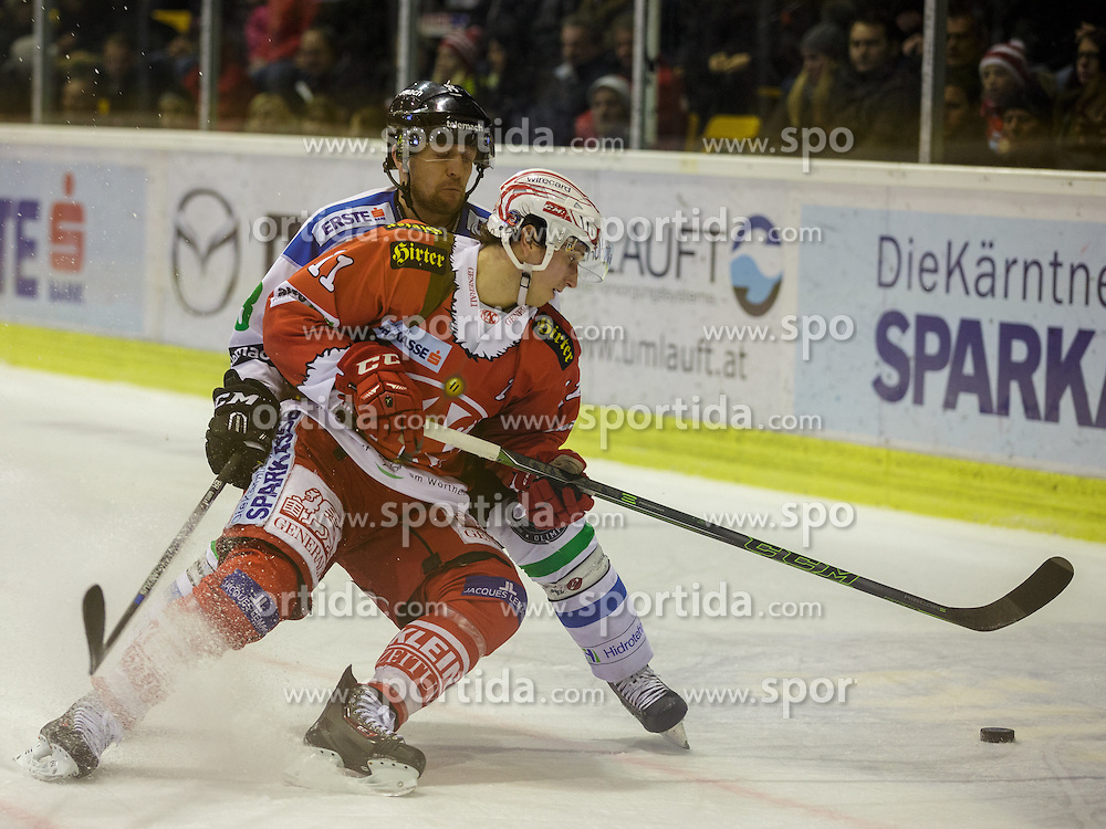 06.12.2015, Stadthalle, Klagenfurt, AUT, EBEL, EC KAC vs HDD TELEMACH Olimpija Ljubljana, 28. Runde, im Bild Roland Kaspitz (HDD TELEMACH Olimpija Ljubljana, #8), Daniel Ban (EC KAC, #11) // during the Erste Bank Eishockey League 28th round match match betweeen EC KAC and HDD TELEMACH Olimpija Ljubljana at the City Hall in Klagenfurt, Austria on 2015/12/06. EXPA Pictures © 2015, PhotoCredit: EXPA/ Gert Steinthaler