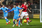 Bristol City's Derrick Williams attempts to clear the ball during the Sky Bet Championship match between Bristol City and Wolverhampton Wanderers at Ashton Gate, Bristol, England on 3 November 2015. Photo by Shane Healey.