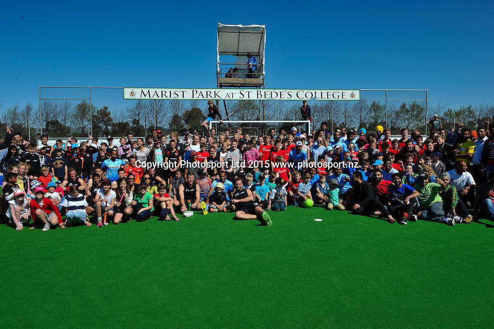 Both teams with fans during the Mens Hockey International, 2015 South Island Tour game between the New Zealand Black Sticks V India, at Marist Park, Christchurch, on the 11th October 2015. Copyright Photo: John Davidson / www.photosport.nz
