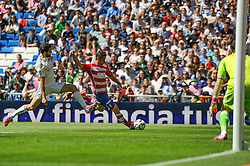 05.04.2015, Estadio Santiago Bernabeu, Madrid, ESP, Primera Division, Real Madrid vs FC Granada, 29. Runde, im Bild Real Madrid&acute;s goalkeeper Iker Casillas and Alvaro Arbeloa and Granada&acute;s // during the Spanish Primera Division 29th round match between Real Madrid CF and Granada FC at the Estadio Santiago Bernabeu in Madrid, Spain on 2015/04/05. EXPA Pictures &copy; 2015, PhotoCredit: EXPA/ Alterphotos/ Luis Fernandez<br /> <br /> *****ATTENTION - OUT of ESP, SUI*****