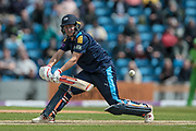 Yorkshire captain Gary Ballance (Yorkshire Vikings) goes for a reverse sweep shot and doesn't make contact. He is given out LBW on 85. Bowled by Parry during the Royal London 1 Day Cup match between Yorkshire County Cricket Club and Lancashire County Cricket Club at Headingley Stadium, Headingley, United Kingdom on 1 May 2017. Photo by Mark P Doherty.