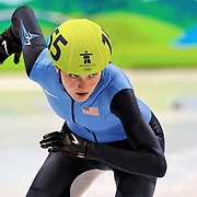 February 13, 2009 - 2010 Winter Olympics - Vancouver, Canada - Alyson Dudek competes in 500m Short Track Speed Skating preliminary competition held at the Pacific Coliseum during the 2010 Winter Olympic Games.