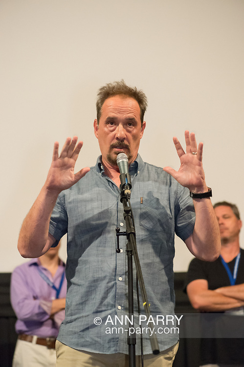 "Bellmore, New York, USA. 19th July 2017. Comedian LOU DIMAGGIO, at center, speaks during a Q&A at the Long Island International Film Expo LIIFE 2017. Immediately before that was the screening of the Documentary feature film ""Where Have You Gone, Lou DiMaggio?"" about DiMaggio contemplating a comeback after being away from the stage for 20 years. Behind him at right is BRAD KUHLMAN who directed the film."