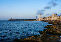 HAVANA, CUBA - CIRCA MAY 2017:  Havana skyline and the malecon at. A popular tourist attraction in Havana.