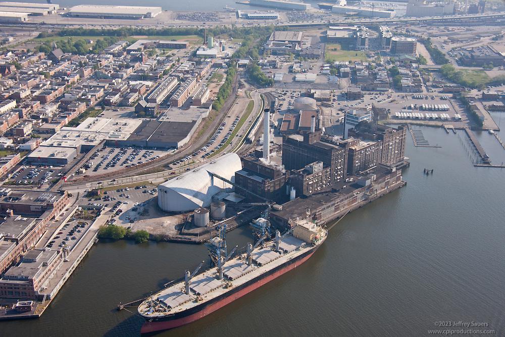Baltimore Harbor Aerial Image of Ship at DOmino Sugar the Simon Schulte