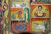 BAHAR DAR, GOJJAM/ETHIOPIA..Lake Tana, origin of the Blue Nile..Zeghe Peninsula, Ura Kidane Mehret Church. Religious wall paintings..(Photo by Heimo Aga)