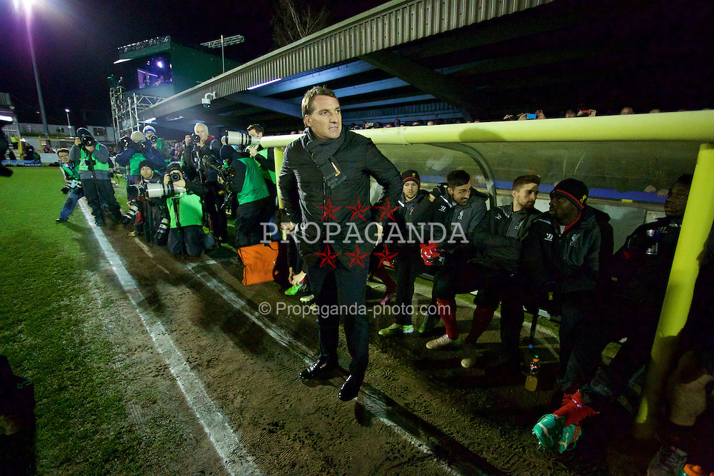KINGSTON-UPON-THAMES, ENGLAND - Monday, January 5, 2015: Liverpool's manager Brendan Rodgers is the focus of attention before the FA Cup 3rd Round match against AFC Wimbledon at the Kingsmeadow Stadium. (Pic by David Rawcliffe/Propaganda)