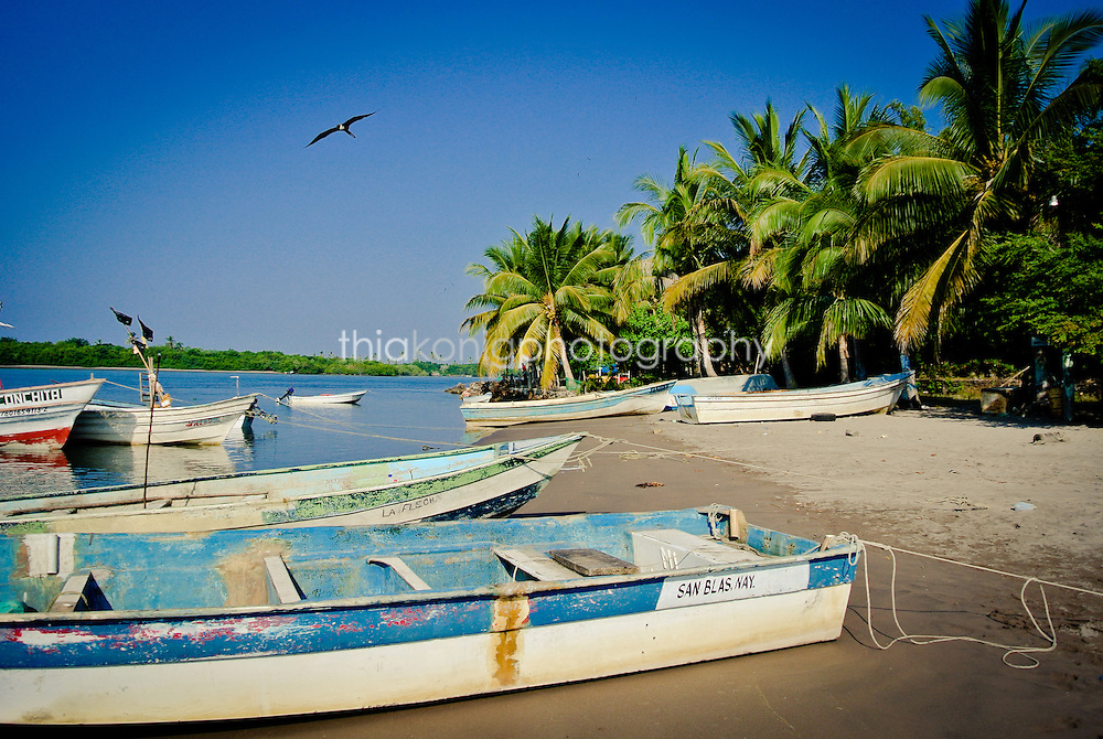 Fishing boats on the beach in San Blass, Mexico.
