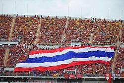 BANGKOK, THAILAND - Sunday, July 28, 2013: A large Thailand flag during a preseason friendly match at the Rajamangala National Stadium. (Pic by David Rawcliffe/Propaganda)