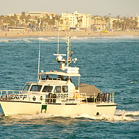 A Sheriffs boat motors north in Santa Monica Bay on Thursday, May 3, 2012. .