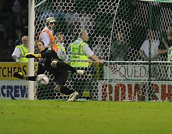 Birmingham City's Colin Doyle lets a penalty past him.  - Photo mandatory by-line: Alex James/JMP - Tel: Mobile: 07966 386802 25/08/2013 - SPORT - FOOTBALL - Cardiff City Stadium - Cardiff -  Cardiff City V Manchester City - Barclays Premier League