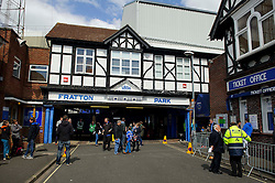 Fans arrive in front of the famous Fratton Park entrance before the match - Photo mandatory by-line: Rogan Thomson/JMP - 07966 386802 - 19/04/2014 - SPORT - FOOTBALL - Fratton Park, Portsmouth - Portsmouth FC v Bristol Rovers - Sky Bet Football League 2.