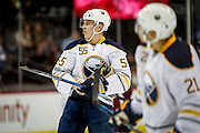 SHOT 2/25/17 9:06:39 PM - The Buffalo Sabres' Rasmus Ristolainen #55 during a break in the action while playing the Colorado Avalanche during their NHL regular season game at the Pepsi Center in Denver, Co. The Avalanche won the game 5-3. (Photo by Marc Piscotty / © 2017)