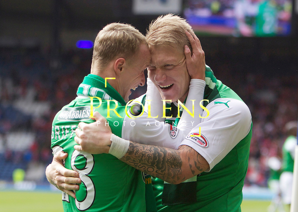 William Hill Scottish FA Cup Semi Final Aberdeen FC v Hibernian FC Season 2011-12.14-04-12...Galscorers Leigh Griffiths and Gary O'Connor  celebrate at Full Time during the William Hill Scottish FA Cup Semi Final tie between Aberdeen FC and Hibernian FC with the Winner facing either Celtic or Hearts. Hibs are aiming for their first Scottish Cup win in 110 years and a possible All Edinburgh derby Final, with Aberdeen looking to salvage a highlight from a up and down season...At Hampden Park Stadium , Glasgow..Saturday 14th April 2012.Picture Mark Davison/ Prolens Photo Agency / PLPA